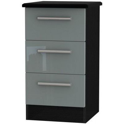 Knightsbridge High Gloss Grey and Black 3 Drawer Bedside