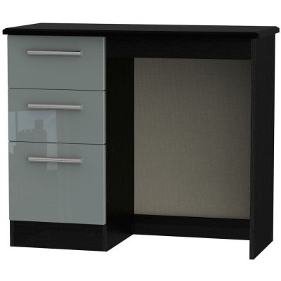 Knightsbridge High Gloss Grey and Black 3 Drawer Dressing Table