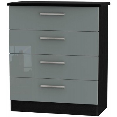 Knightsbridge High Gloss Grey and Black 4 Drawer Chest