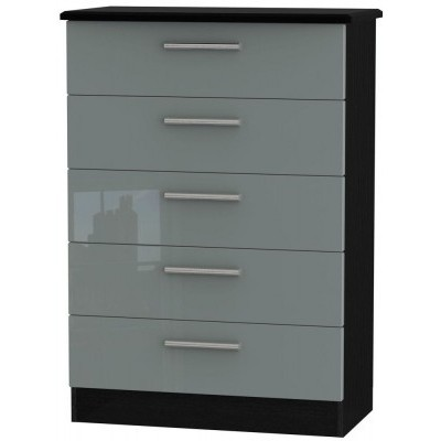 Knightsbridge High Gloss Grey and Black 5 Drawer Chest