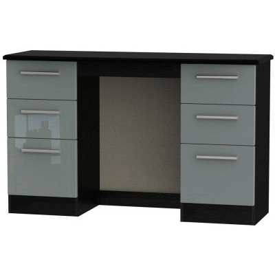 Knightsbridge High Gloss Grey and Black 6 Drawer Dressing Table