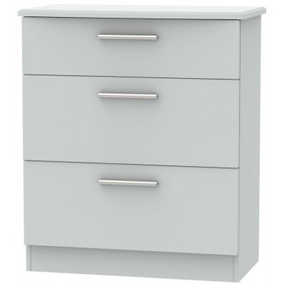 Knightsbridge Matt Grey 3 Drawer Deep Chest