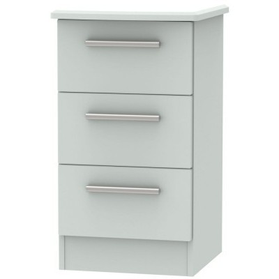 Knightsbridge Matt Grey 3 Drawer Bedside