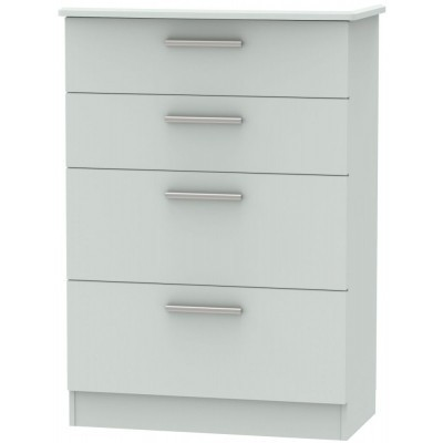 Knightsbridge Matt Grey 4 Drawer Deep Chest