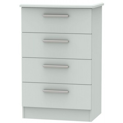 Knightsbridge Matt Grey 4 Drawer Midi Chest