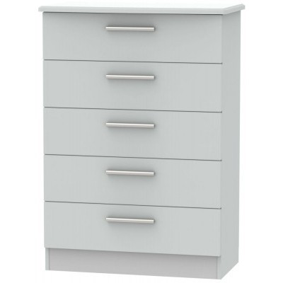 Knightsbridge Matt Grey 5 Drawer Chest