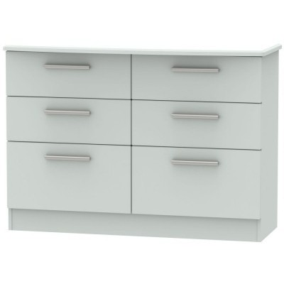 Knightsbridge Matt Grey 6 Drawer Midi Chest