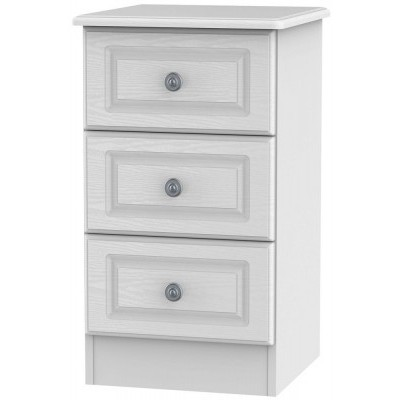 Pembroke White 3 Drawer Bedside