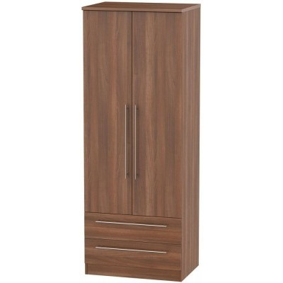 Sherwood Walnut 2 Drawer 2 Door Wardrobe Tall