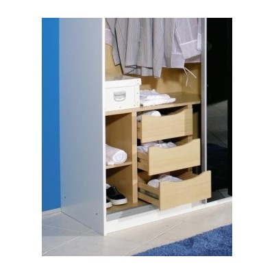 Wardrobe 3 drawer chest with shelves 90cm