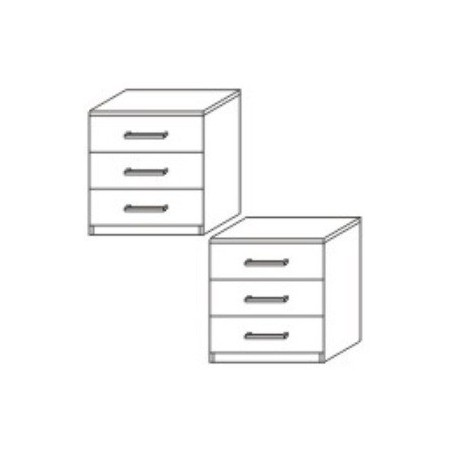 Omni 3 Drawer Pair Bedside Table