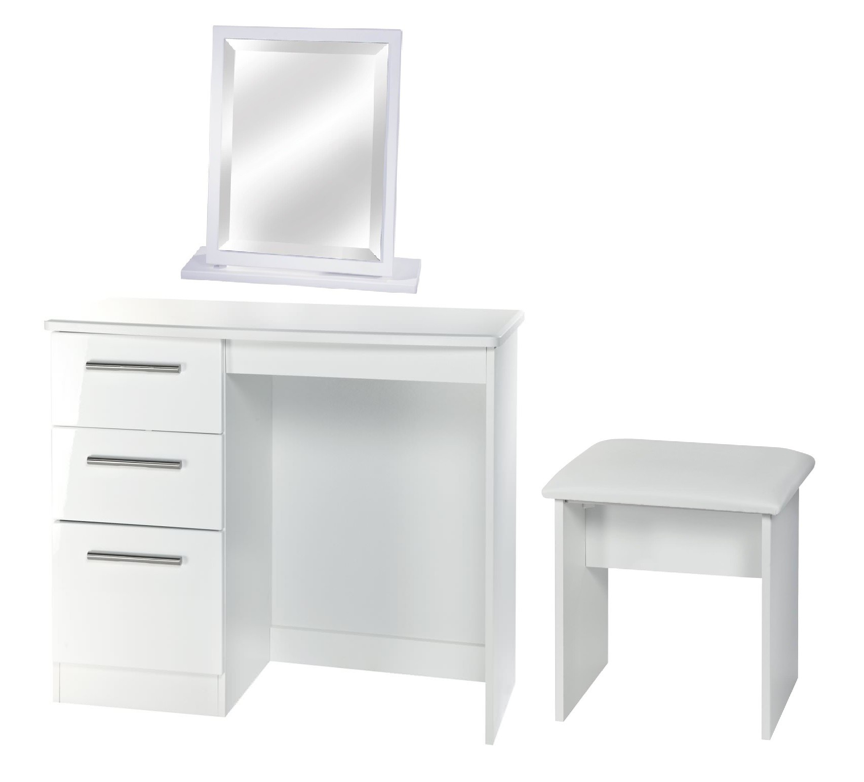 Knightsbridge White Table stool and mirror